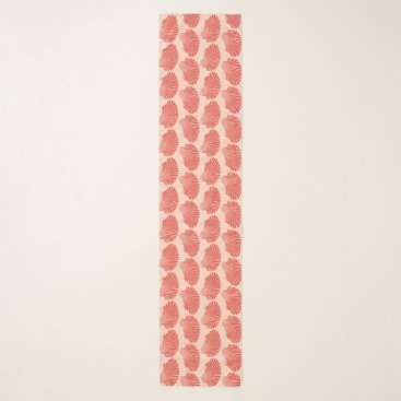 Beach Themed Scallop Shell Block Print, Light Coral Orange Scarf