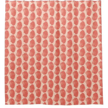 Beach Themed Scallop Shell Block Print, Light Coral Orange Shower Curtain