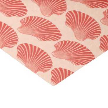 Beach Themed Scallop Shell Block Print, Light Coral Orange Tissue Paper