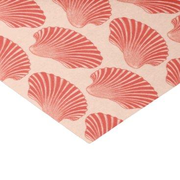 Beach Themed Scallop Shell Block Print, Light Coral Orange Tissue Paper