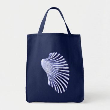 Beach Themed Scallop Shell Block Print, Navy and White Tote Bag