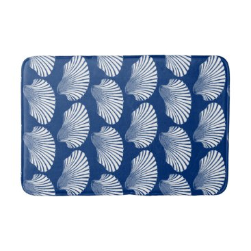 Beach Themed Scallop Shell Block Print, Navy Blue and White Bathroom Mat