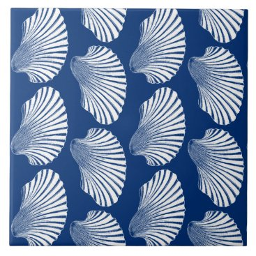 Beach Themed Scallop Shell Block Print, Navy Blue and White Ceramic Tile