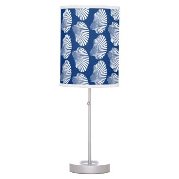 Beach Themed Scallop Shell Block Print, Navy Blue and White Desk Lamp