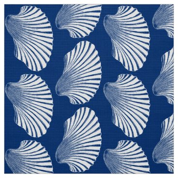 Beach Themed Scallop Shell Block Print, Navy Blue and White Fabric