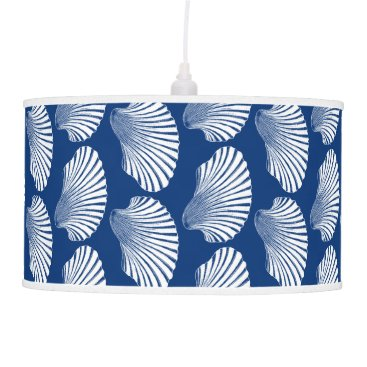 Beach Themed Scallop Shell Block Print, Navy Blue and White Hanging Lamp