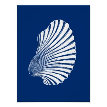Beach Themed Scallop Shell Block Print, Navy Blue and White Poster