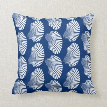 Beach Themed Scallop Shell Block Print, Navy Blue and White Throw Pillow