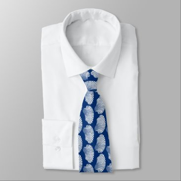 Beach Themed Scallop Shell Block Print, Navy Blue and White Tie