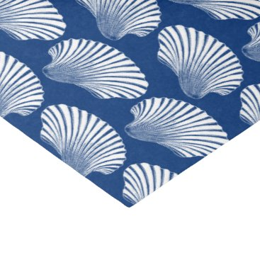 Beach Themed Scallop Shell Block Print, Navy Blue and White Tissue Paper