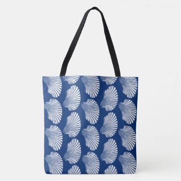 Beach Themed Scallop Shell Block Print, Navy Blue and White Tote Bag