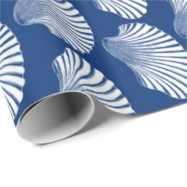 Beach Themed Scallop Shell Block Print, Navy Blue and White Wrapping Paper
