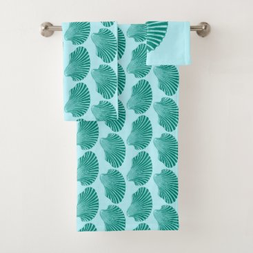 Beach Themed Scallop Shell Block Print, Turquoise and Aqua Bath Towel Set