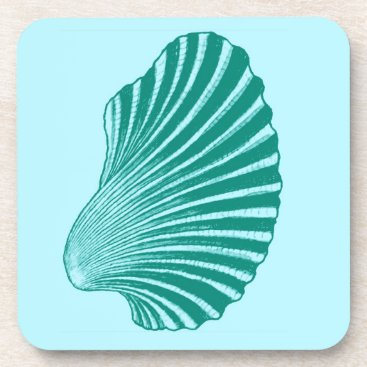 Beach Themed Scallop Shell Block Print, Turquoise and Aqua Drink Coaster