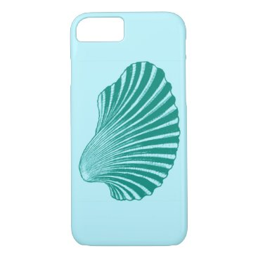 Beach Themed Scallop Shell Block Print, Turquoise and Aqua iPhone 7 Case
