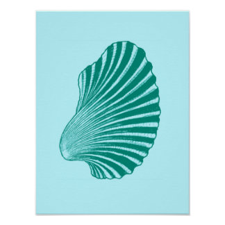 Scallop Shell Block Print, Turquoise and Aqua Poster