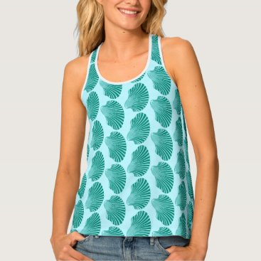 Beach Themed Scallop Shell Block Print, Turquoise and Aqua Tank Top
