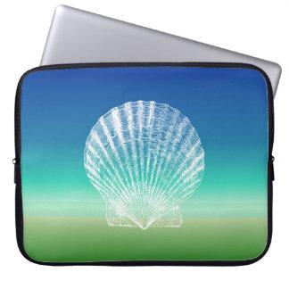 Scallop Shell Blue Green Seascape Laptop Sleeve