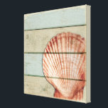 """Scallop Shell Canvas Print<br><div class=""""desc"""">A scallop shell on a pastel distressed background.</div>"""