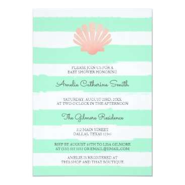 Beach Themed Scallop Shell | Coral & Mint | Baby Shower Card