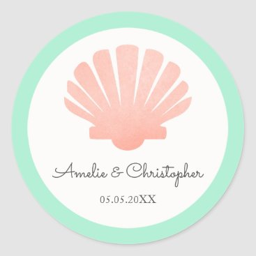 Beach Themed Scallop Shell Coral & Mint | Personalized Wedding Classic Round Sticker