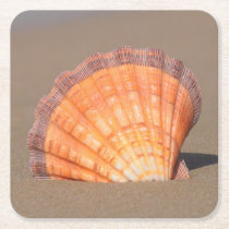 Scallop Shell| Crete, Greece Square Paper Coaster