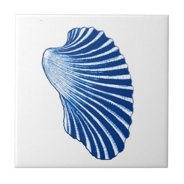 Beach Themed Scallop Shell, Indigo Blue and White Ceramic Tile