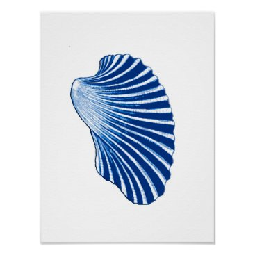 Beach Themed Scallop Shell, Indigo Blue and White Poster