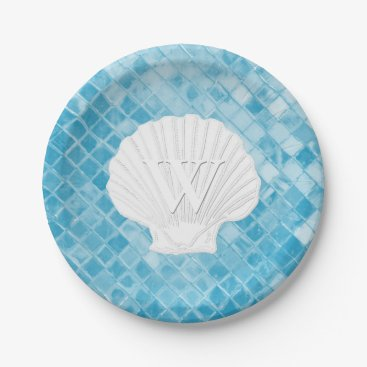 WRAPPED_TOO_TIGHT Scallop Shell Monogram Blue Sea Glass Paper Plate