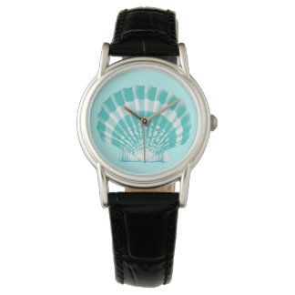 Scallop Shell - soft aqua and white Wrist Watch