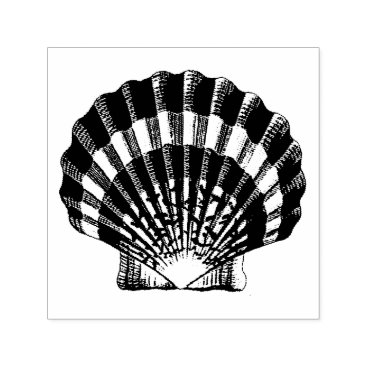 Scallop Shell Vintage Illustration Self-inking Stamp