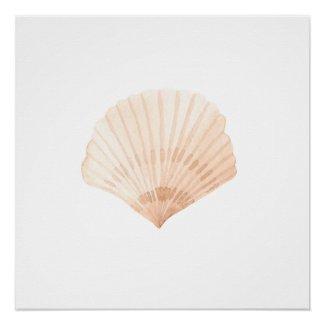Scallop Shell Watercolor Print
