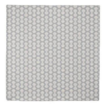Beach Themed Scallop Shells Gray and Cream Duvet Cover