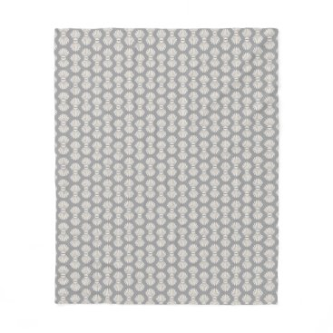 Beach Themed Scallop Shells Pattern on Gray Fleece Blanket