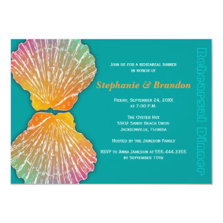 Scallop Shells Teal Rehearsal Dinner Invitation
