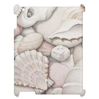 Scallop & Tibia Shells and Pebbles iPad Case