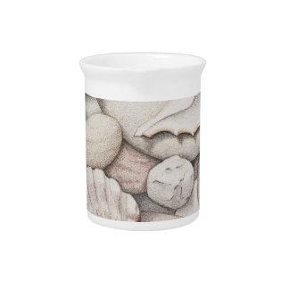 Scallop & Tibia Shells & Pebbles in Colour Pencil Beverage Pitcher