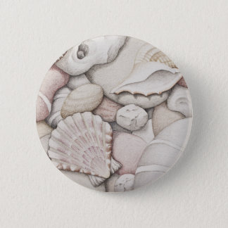 Scallop & Tibia Shells & Pebbles in Colour Pencil Button