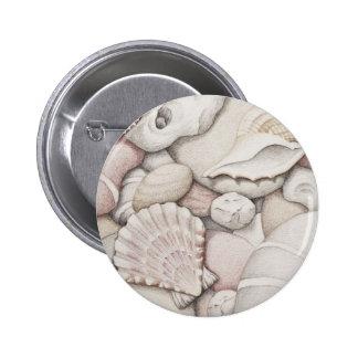 Scallop & Tibia Shells & Pebbles in Colour Pencil Button