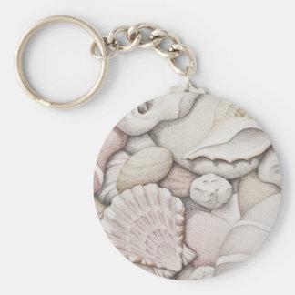 Scallop & Tibia Shells & Pebbles in Colour Pencil Keychain