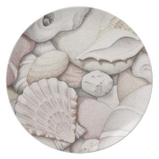 Scallop & Tibia Shells & Pebbles Melamine Plate