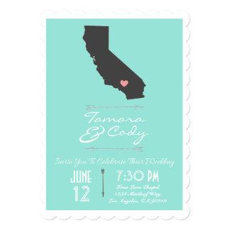 Scalloped Aqua California Wedding Invitation