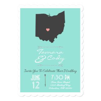 Scalloped Aqua Green Ohio State Wedding Invitation
