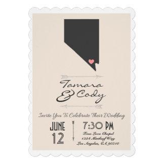 Scalloped Beige Las Vegas Wedding Invitation