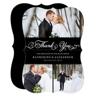 Scalloped Black Band Wedding Photo Thank You Card