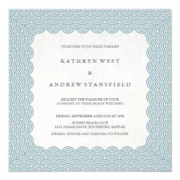 Beach Themed Scalloped Blue Seigaiha Pattern Wedding Invitation