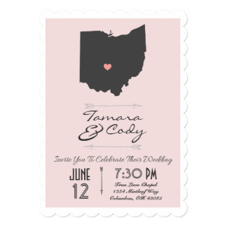 Scalloped Blush Pink Ohio State Wedding Invitation