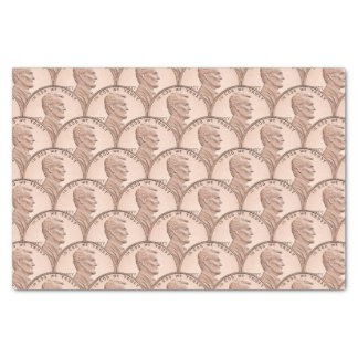 "Scalloped Copper Pennies Pattern Design 10"" X 15"" Tissue Paper"