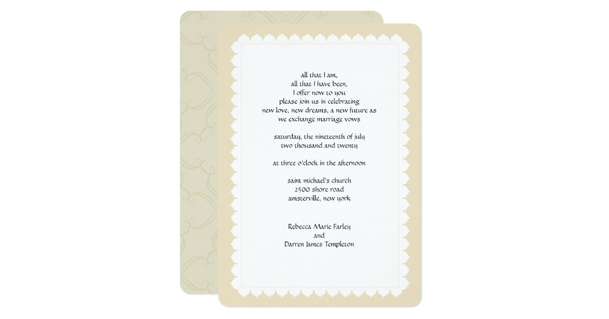 2nd Marriage Wedding Invitations: Scalloped Edge Second Marriage Wedding Invitations