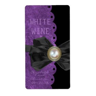 Scalloped Edge Wedding Wine Labels